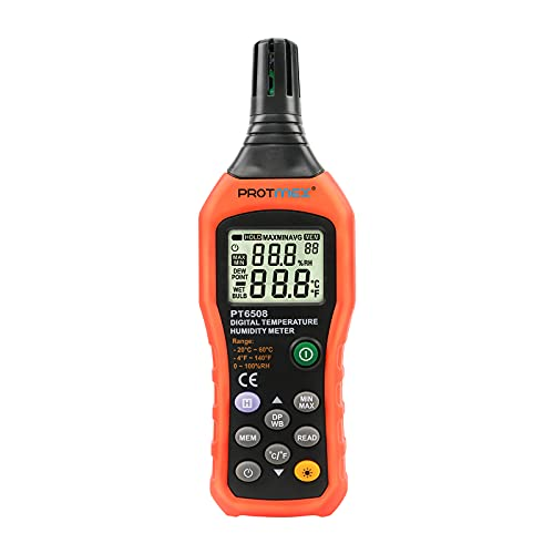 Protmex PT6508 Temperature Humidity Meter Thermometer Hygrometer with Ambient,Dew...