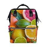 Mochila escolar de gran capacidad, diseño de rodajas de limón, color naranja