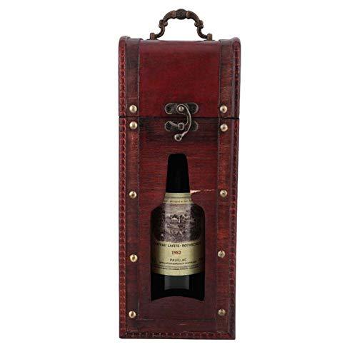 HAOX Caja de Vino, Caja de Vino, Vintage para Llevar como Paquete de Vino Caja de Almacenamiento de Vino Vino Tinto
