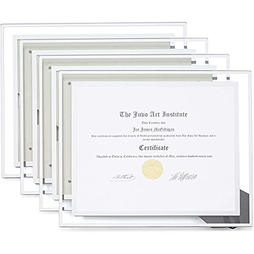 Glass Certificate Holders, Floating Frame Document Covers (11 x 8.5 in, 4 Pack)