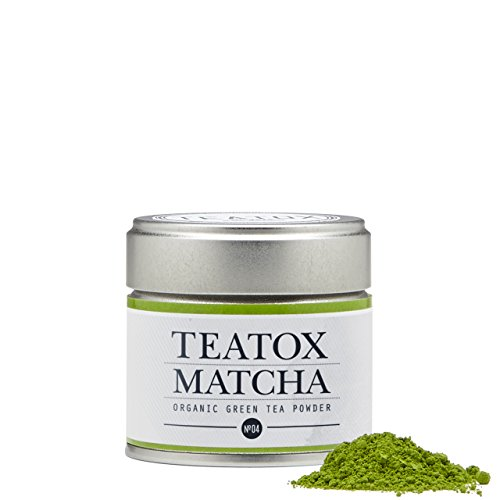 Teatox Premium Matcha Pulver | BIO Matcha grüner Tee Pulver aus Tencha Teeblättern | Trend-Getränk Green Tea aus Japan | Energiespendender Tee-Genuss für den Tag - mit Koffein | SUPER FOOD | 30g
