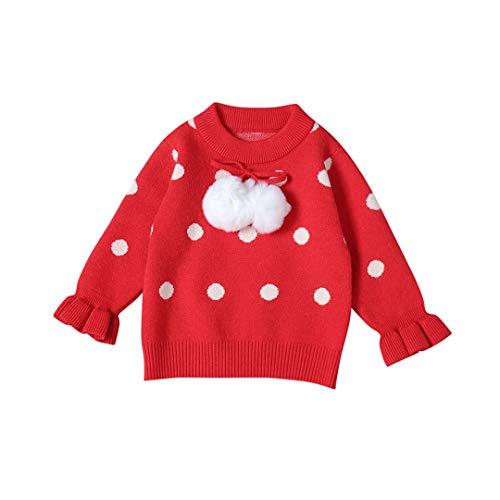 ALLAIBB Little Girl Red Pullover Maglione di Natale Polsini con Volant Bianchi a Pois
