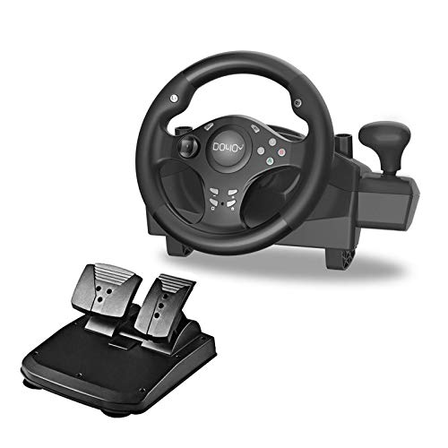 Gaming Racing Wheel with Responsive Gear and Pedals, 270 Degree Rotation Pro Sport, Compatible with PC / PS3 / PS4 / XBOX ONE / XBOX360 / NS SWITCH / Android