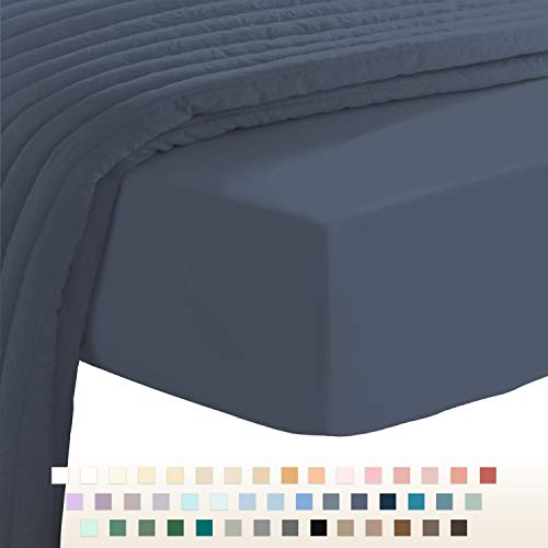 400 Thread Count Cotton Dark Blue Double Fitted Sheet, 100% Long Staple Cotton Double Bed Sheet Fitted, Soft Sateen 140x200 Fitted Sheet (100% Cotton 40cm Extra Deep Double Fitted Sheet Indigo Blue)