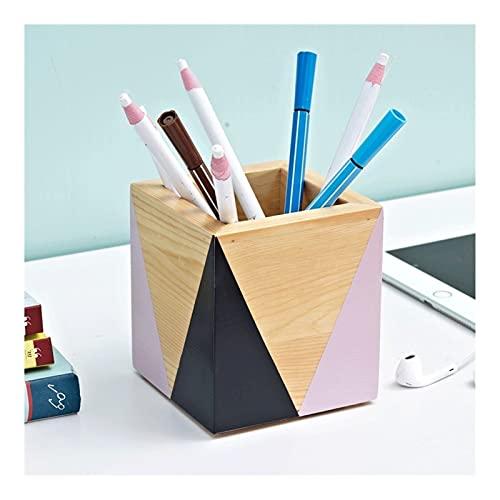 JJH Titular de la Pluma de Madera de la geometría, Titulares de lápices de Escritorio para Estudiantes Office Supply, Maquillaje Brochas Organizadores para niñas Mujeres (4 Colores)