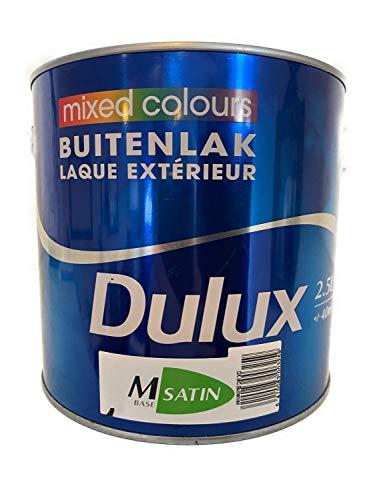 Dulux raam- & deurlak weerbestendige verf oplosmiddelhoudende buiten zijdeglans wit 2,5 liter kleurkeuze achaatgrijs