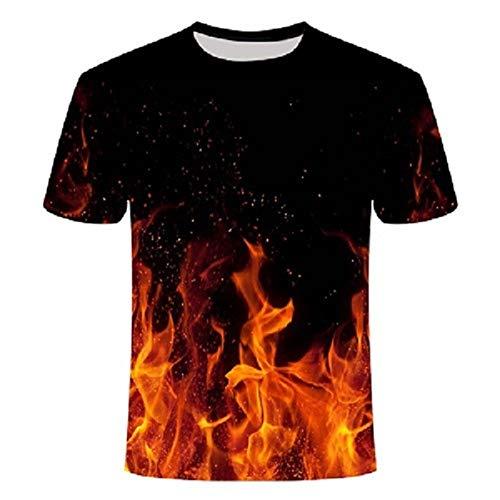 Sunofbeach Unisex 3D T-Shirt Lustige Druck Beiläufige Kurzarm T-Shirts Tee Tops, Fantasy rot gelbe Flamme, M