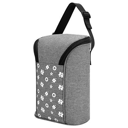 Insulated Breastmilk Cooler, Baby Bottle Tote Bags for Travel Double Baby Bottle Warmer or Cool (Grey)