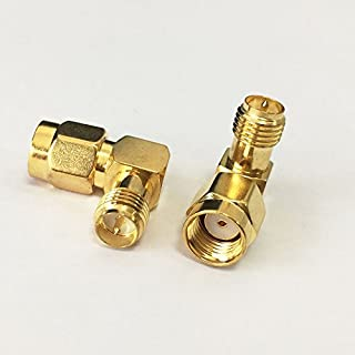 RP-SMA Male to RP-SMA Female Right Angle 90-Degree Adapter Gold Plated Contacts Pack of 2