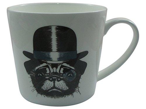Jameson & Tailor Tasse 0,45 L aus Brilliant - Porzellan Design - Hund mit Hut und Monokel - Becher aus hochfestem Material