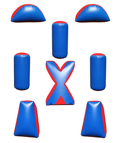 Sportogo 8 Piece Inflatable Air Bunker Set for Paintball, Airsoft, Archery, Laser Tag, Blue & Red