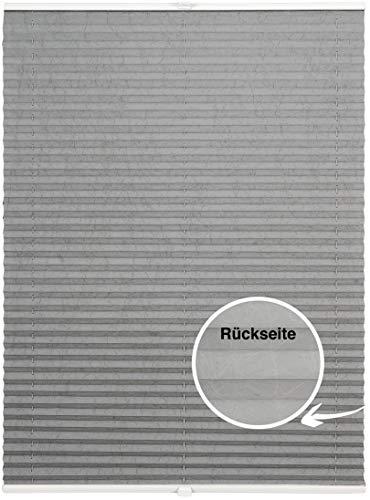 ondeco Plissee auf Maß Crushed-Optik für alle Fenster innen, Montage in Glasleiste mit Spannschuh, Sonnenschutz-Rollo lichtschutz und Blickdicht Hellgrau-Thermo B: 41-50 cm, H: 40-100 cm