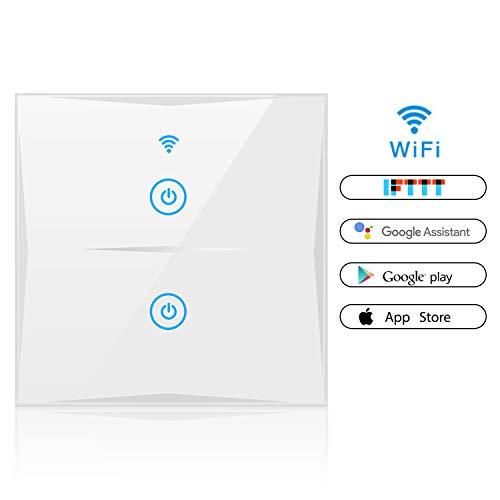 Alexa Smart Lichtschalter, SAINKO 2-Weg WLAN In-Wall gehärtetes Glas Touchscreen-Schalter, arbeitet mit Amazon Alexa und Google Home, Timing-Funktion, Überlastungsschutz (2-weg)