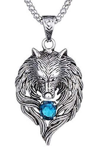 Inception Pro Infinite Collar para hombre y mujer – Piedra – Cabeza – Azul – Lobo – Grande – Escandinavia – Color plata – Navidad – Vikinga