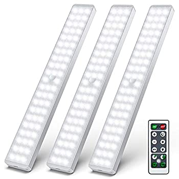 LED Closet Light 62 LED Motion Sensor Under Cabinet Lights with Remote Wireless Rechargeable Night Safe Lights Bar Stick-on Anywhere for Counter Cabinet Wardrobe Stairs  3 Packs