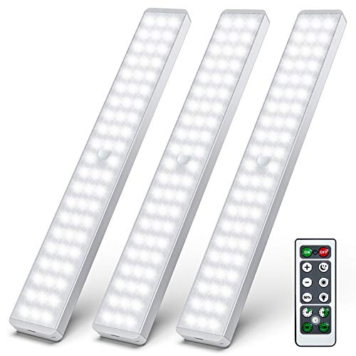 LED Closet Light, 62 LED Motion Sensor Under Cabinet Lights with Remote, Wireless Rechargeable Night Safe Lights Bar Stick-on Anywhere for Counter Cabinet Wardrobe Stairs (3 Packs)