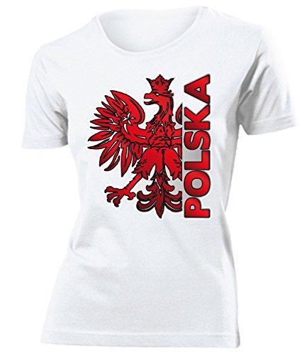 Polen Polska Poland Polski Polnische Koszulka Fanshirt Fussball Fußball Trikot Look Jersey Damen Frauen t Shirt Tshirt t-Shirt Fan Fanartikel Outfit Bekleidung Oberteil Hemd Artikel