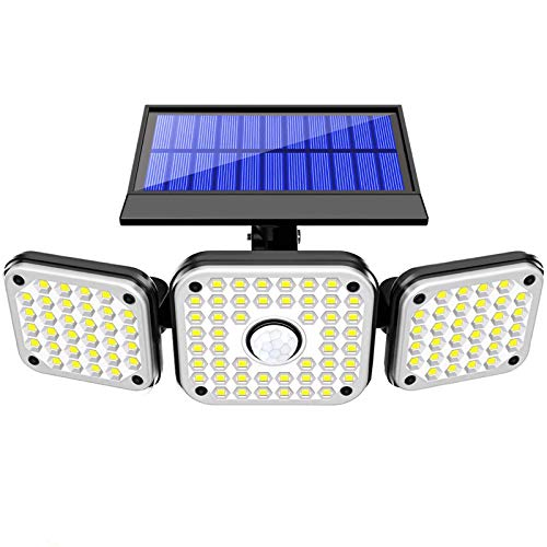 Solar Lights Outdoor with Motion Sensor, NBJ 3 Heads Security Lights Solar Powered, 112 LED Solar Flood Lights Motion Detected Spotlights 360° Rotatable IP65 Waterproof for Porch Garage Yard Patio