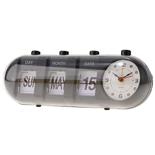 B Blesiya Retro Flip Clock Uhr Tischuhr Wecker Büro Wohnzimmer - Schwarz