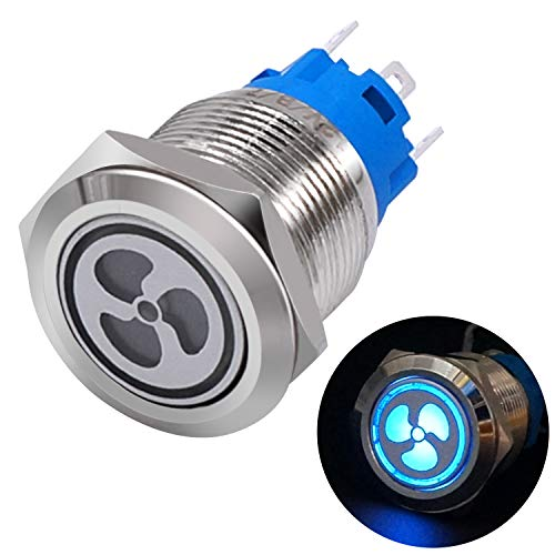 Taiss 12V 19mm Blue LED Illuminated Car Fan Push Button Switch 1NO 1NC 3/4' Mounting Hole Latching Type Silver Stainless Steel Metal Toggle Switch For Car Boat Part Modification TL19-FS-Bu