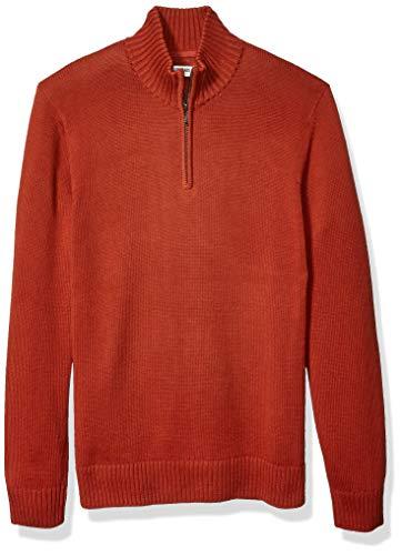 Amazon Brand - Goodthreads Men's Soft Cotton Quarter Zip Sweater, Rust Large