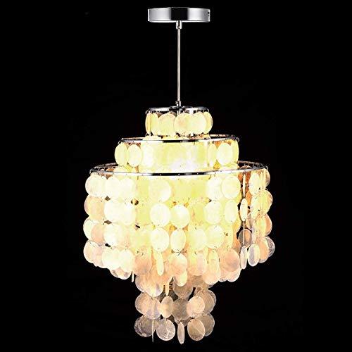 Office kroonluchter Modern Creative Nordic White natuurlijke schelp Opknoping Pendant Lamp Fixture E14 LED-verlichting for Home Deco Bedroom Living Room Restaurant Onderzoek kamer kroonluchter