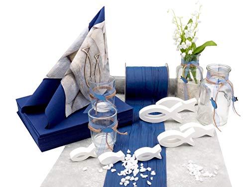 ZauberDeko Tischdeko Kommunion Konfirmation Blau Grau Weiß Fisch Set 20 Personen David