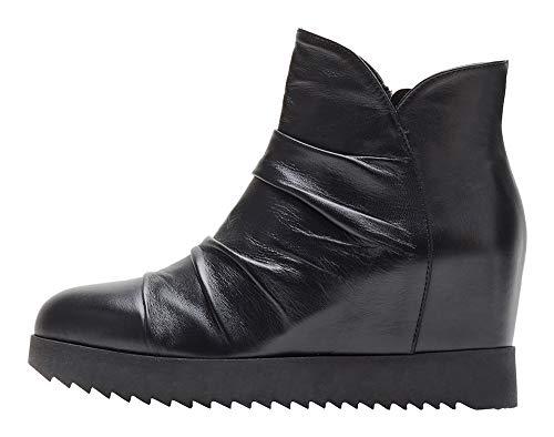 Poi Lei Damen-Schuhe Wedges Boots Selina Echtleder Glattleder Stiefeletten Keilabsatz - Handgefertigt in Europa