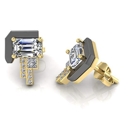 JBR Eldoie - Pendientes de plata de ley con diamantes de corte esmeralda de 2 tonos creados en laboratorio de oro blanco de 14 quilates, regalo para el día de San Valentín para mujer