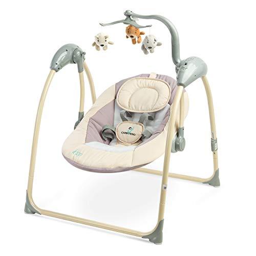 Caretero Loop Elektrische zusammenklappbare Babyschaukel Kinder Schaukelwippe mit Mobile, Moskitonetz, verschiedenen Schaukelrichtungen, Geschwindigkeiten und Timerfunktion Beige