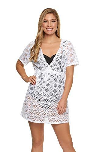 Dotti Sea Scallop Crochet Hoodie Dress Cover-Up White MD
