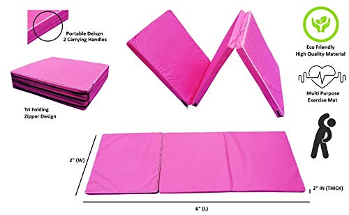 """5 Star TD Gymnastics Mat 2x6 Tri-Fold 2"""" Thick Folding Exercise Tumble Mat with 2 Carrying Handles for Gymnastics, Yoga, Aerobics, Mixed Martial Arts, Home Gym Exercise Workout Mat Pink"""