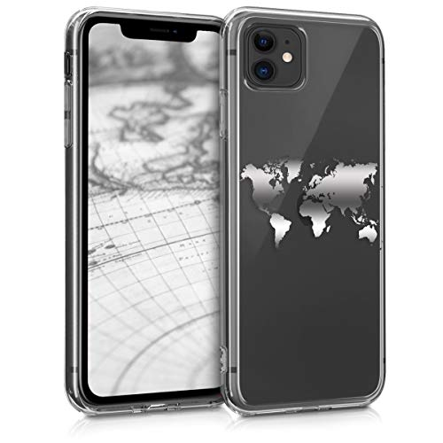 kwmobile Hülle kompatibel mit Apple iPhone 11 - Handyhülle - Handy Case Travel Umriss Silber Transparent