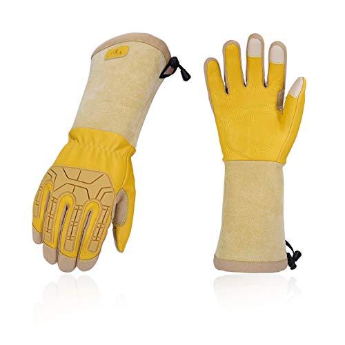 Vgo Rosagarten- und Arbeitshandschuhe, mit Langen Armen und Soften Kuhlederpalmen, für Rosa oder Kaktusgartebarbeit, männliche Handschuhe (1 Paar, 9/L, Gold, CA9659)