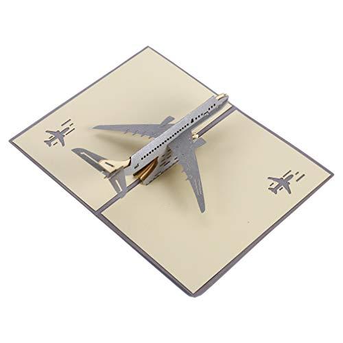 Yinew Flugzeug Modell 3D Grußkarte Blume Pop Up Karte Hochzeit Einladungskarten Kreative Postkarte, Flugzeug