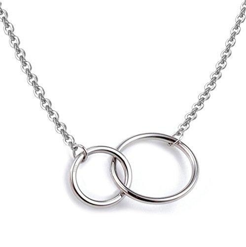 Fashion HW Collar de plata de ley S925 con colgante de dos círculos entrelazados, 40,6 cm+5 cm extensor