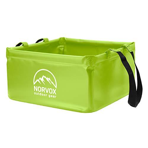 NORVOX Cuenco plegable para exteriores, cubo plegable para camping, 15 o 20 litros, universal, como recipiente para lavado, lavaplatos, cubo plegable o cubo de agua (verde lima - 20 L)