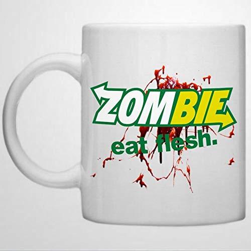 Zombie Walking Inspired Subway Design Zombies Eat Flesh Design Funny Coffee Mug 11 oz Ceramic coffee or Tea cup Mug Birthday Festival Christmas