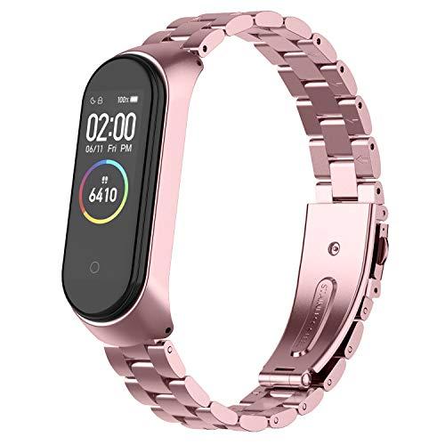 Adepoy Correa para Xiaomi Mi Band 3 / Mi Band 4, Metal Pulsera Reloj Wristband Repuesto, Bandas de Acero Inoxidable para Hombres Mujer (No Host)