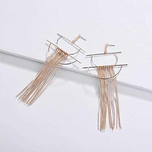 ZNYH Pendientes geométricos Arco de Medio Punto algodón Borla línea Espiga Pendientes Femeninos Pendientes