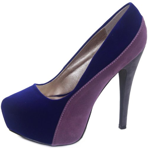 Qupid Women's High Heel Pump Heeled Stiletto Platform Closed Point Toe Clear Heels Dress Wedding Party Evening Shoes Round Penelope-44x Royal Blue 6