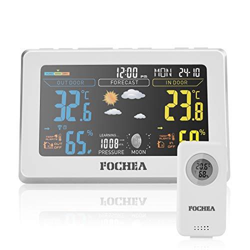 FOCHEA Wetterstation Funk mit Außensensor, Funk Wetterstation Digital-Thermometer Hygrometer mit Wettervorhersage, Alarm/Schlummerfunktion, Luftfeuchtigkeit- und Temperaturüberwachung Weiß