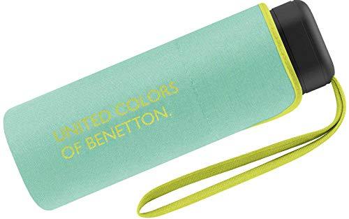 Benetton Regenschirm Schirm Taschenschirm klein flach & leicht (Mint)