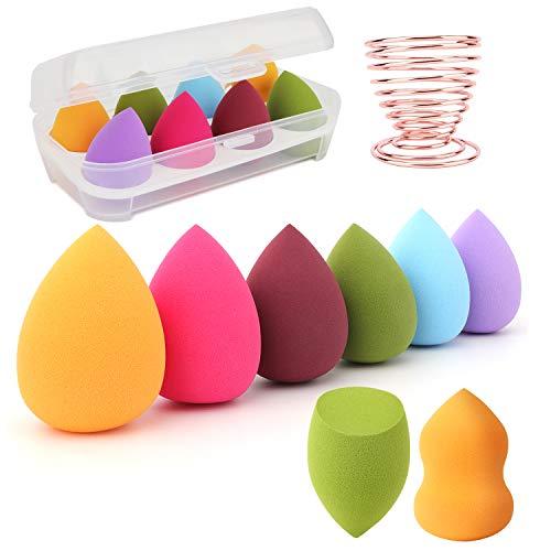 Juego de esponjas de maquillaje: mezclador de esponjas de maquillaje de 8 piezas + 1 estante de secado de esponjas de maquillaje, adecuado para corrector de rubor, sombra de ojos, polvo, crema, polvo