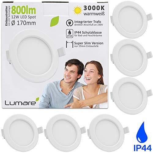 Lumare - Foco LED empotrable (12 W, 800 lm, 230 V, IP44, ultraplano, 6 unidades, para salón, cuarto de baño, 26 mm de profundidad, luz blanca cálida)