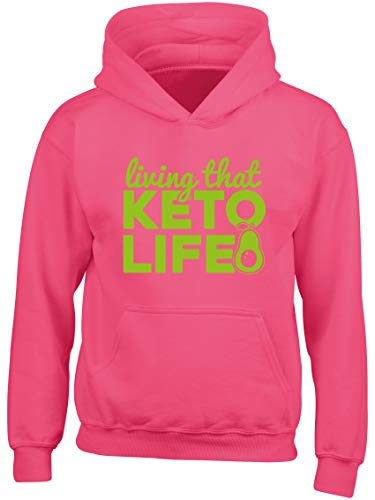 Hippowarehouse Living That Keto Life Kids Children's Unisex Hoodie Hooded top Fuchsia Pink