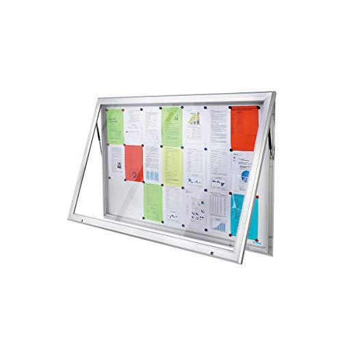 OFFICE AKKTIV Vitrine d'affichage à cadre aluminium, pour l'intérieur et l'extérieur - avec porte ouvrant vers le haut - l x h ext. 1685 x 1067 mm, capacité 21 feuilles A4 - vitrine d'affichage vitrine de présentation vitrine murale vitrine pour affiches