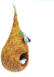 LIVEONCE Decorative Bird Nest with Two Birds Purely Handmade Love Birds/Sparrow/Small Birds,Material Type -Coir,Color -Bro...