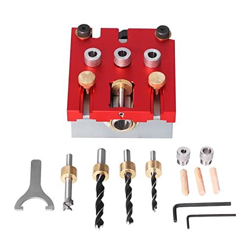 Sistema de herramientas de kit de plantilla de orificios de bolsillo, 3 en 1, kit de plantilla de clavijas para carpintería con clip de posicionamiento, guía de perforación ajustable