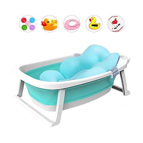 Fayelong Faltbare Baby Badewanne Großes verdickendes Kind scherzt Kinder Zusammenklappbares Baby-Duschbecken Badewanne mit Sicherheitsmatte/Pad für 0-8 Jahre alt Babywanne (Blau)